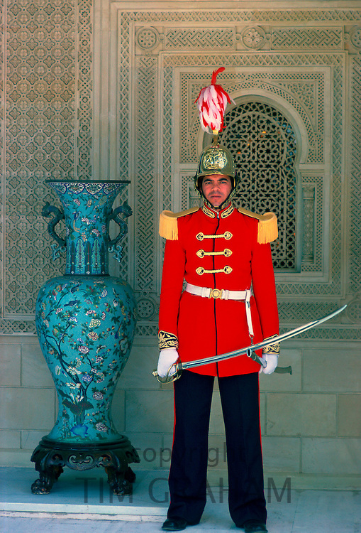 Presidential palace guard holding a ceremonial sword, Tunis, Tunisia