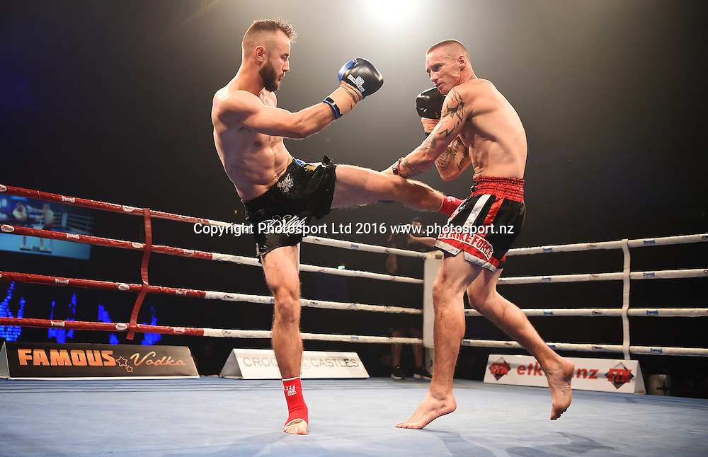 "Victor ""Slick"" Mechkov (black trunks) versus Hayden ""tat north"" Todd in the final of the King in the Ring 8 Man Series. Kickboxing. ASB Stadium, Auckland, New Zealand. Friday 15 April 2016. © Copyright photo: Andrew Cornaga / www.photosport.nz"