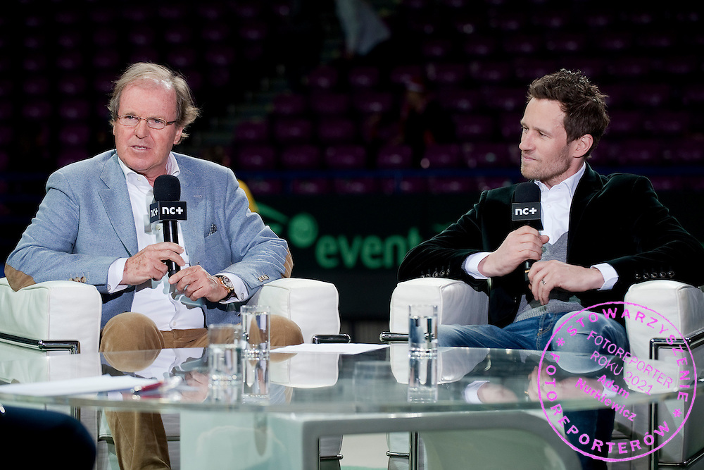 (L) Wojciech Fibak - famous former tennis player &amp; (R) Maiusz Czerkawski - famous former ice hockey player in Canal Plus studio during the BNP Paribas Davis Cup 2014 between Poland and Croatia at Torwar Hall in Warsaw on April 4, 2014.<br /> <br /> Poland, Warsaw, April 4, 2014<br /> <br /> Picture also available in RAW (NEF) or TIFF format on special request.<br /> <br /> For editorial use only. Any commercial or promotional use requires permission.<br /> <br /> Mandatory credit:<br /> Photo by &copy; Adam Nurkiewicz / Mediasport