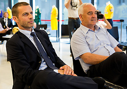 Aleksander Ceferin, president of NZS and Franc Kopatin  during draw of Prva liga Telekom Slovenije and Slovenian Cup 2015 organised by Football Association of Slovenia NZS on June 30, 2014 in Kongresni centre, Brdo pri Kranju, Slovenia. Photo By Vid Ponikvar / Sportida
