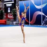 PADUA, ITALY - NOVEMBER 12 2016: Bricchi Giulia of San Giorgio Desio performs freehand at the italian national rhythmic gymnastic championship. Her score in the apparatus is 15,350. Her team's score is 103,450 and ended up in first position.