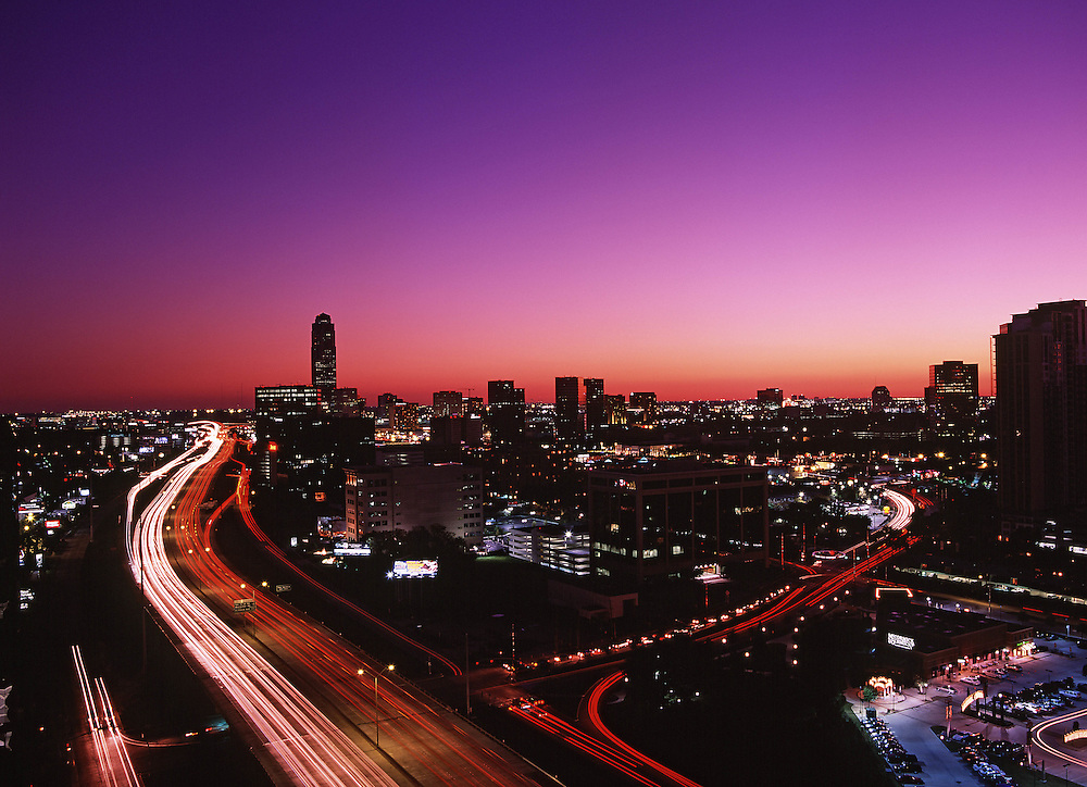 Stock photo of an evening view of the Galleria area Houston,Texas