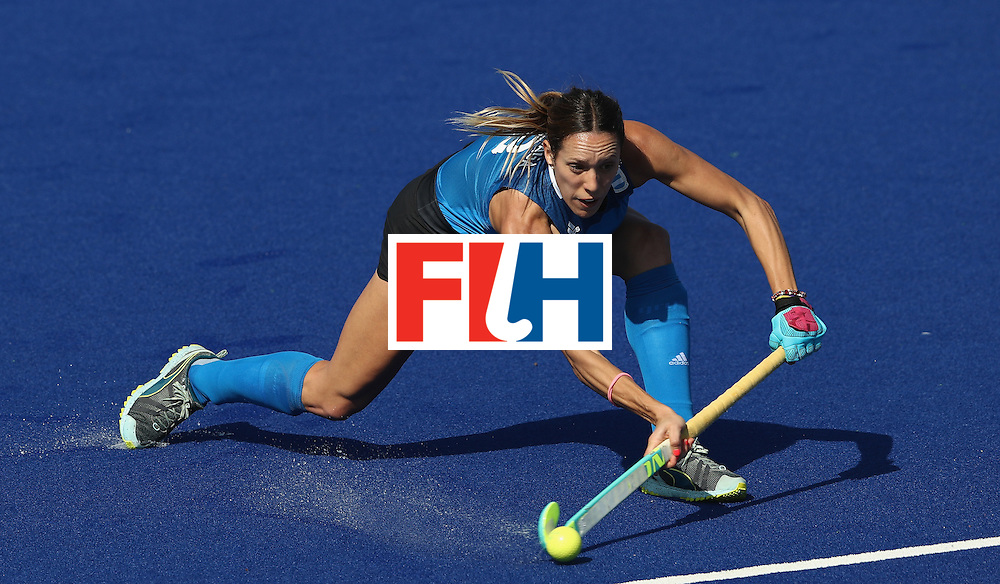 RIO DE JANEIRO, BRAZIL - AUGUST 13:  Victoria Zuloaga of Argentina fires a shot during the Women's pool B hockey match between Argentina and India on Day 8 of the Rio 2016 Olympic Games at the Olympic Hockey Centre on August 13, 2016 in Rio de Janeiro, Brazil.  (Photo by David Rogers/Getty Images)
