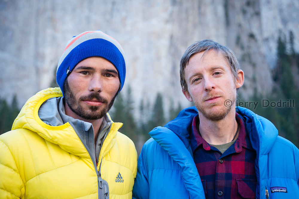 Kevin Jorgeson and Tommy Caldwell after their nineteen day 5.14d free ascent of the Dawn Wall on El Capitan in Yosemite National Park, California. The unprecedented 3000 foot route is considered to be the hardest climb in the world.