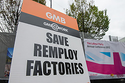GMB Union protest at the Labor Party conference 2012 against Remploy factory closuers