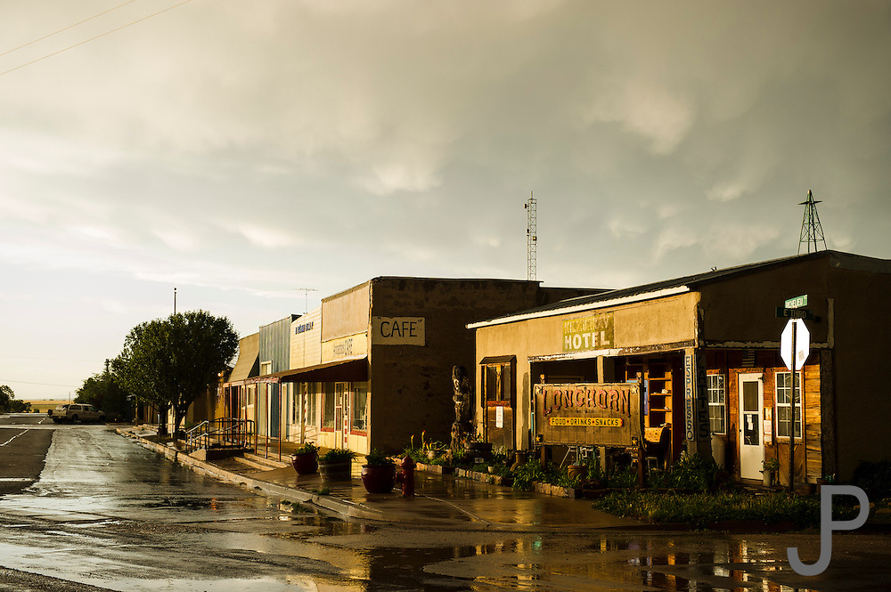 A late evening summer thunderstorm left the roads wet in Roy, New Mexico