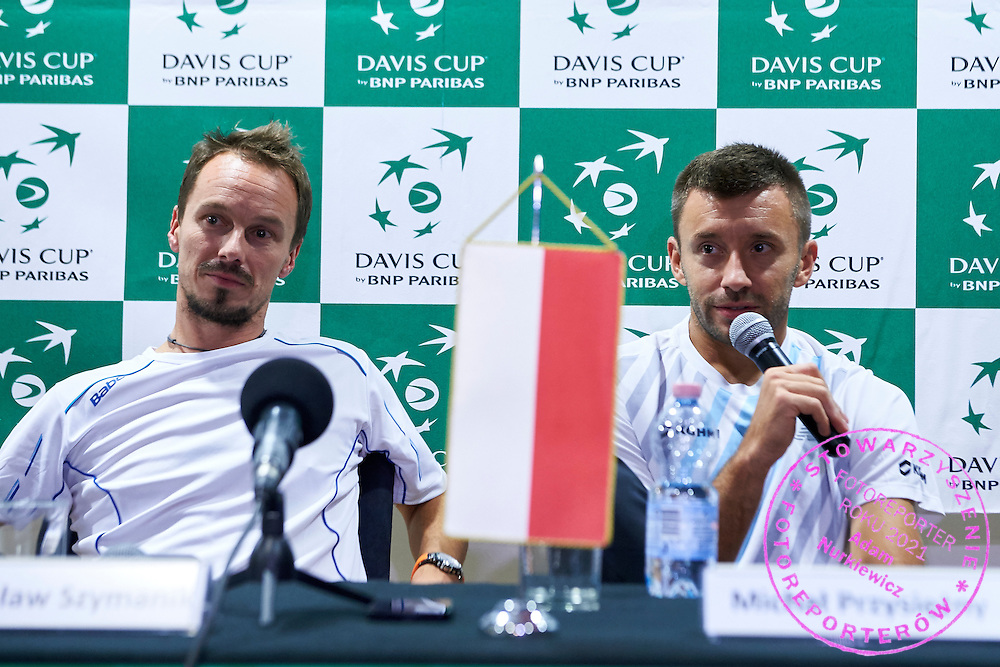 (R) Michal Przysiezny and (L) Radoslaw Szymanik - captain national team both from Poland while press conference during Davis Cup Tie World Group Play-off Poland v Slovakia at Gdynia Arena Hall in Gdynia, Poland.<br /> <br /> Poland, Gdynia, September 20, 2015<br /> <br /> Picture also available in RAW (NEF) or TIFF format on special request.<br /> <br /> For editorial use only. Any commercial or promotional use requires permission.<br /> <br /> Adam Nurkiewicz declares that he has no rights to the image of people at the photographs of his authorship.<br /> <br /> Mandatory credit:<br /> Photo by &copy; Adam Nurkiewicz / Mediasport