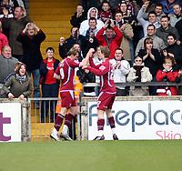 Photo: Mark Stephenson/Richard Lane Photography. <br /> Scunthorpe United v Cardiff City. Coca-Cola Championship. 19/04/2008. Scunthorpe's Paul Hayes (L) celebrates his goal