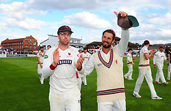 Peter Trego and Jack Leach of Somerset applaud the crowd.  - Mandatory by-line: Alex Davidson/JMP - 22/09/2016 - CRICKET - Cooper Associates County Ground - Taunton, United Kingdom - Somerset v Nottinghamshire - Specsavers County Championship Division One