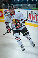 KELOWNA, CANADA - OCTOBER 4:  Chase De Leo #9  of the Portland Winterhawks warms up on the ice at the Kelowna Rockets on October 4, 2013 at Prospera Place in Kelowna, British Columbia, Canada (Photo by Marissa Baecker/Shoot the Breeze) *** Local Caption ***