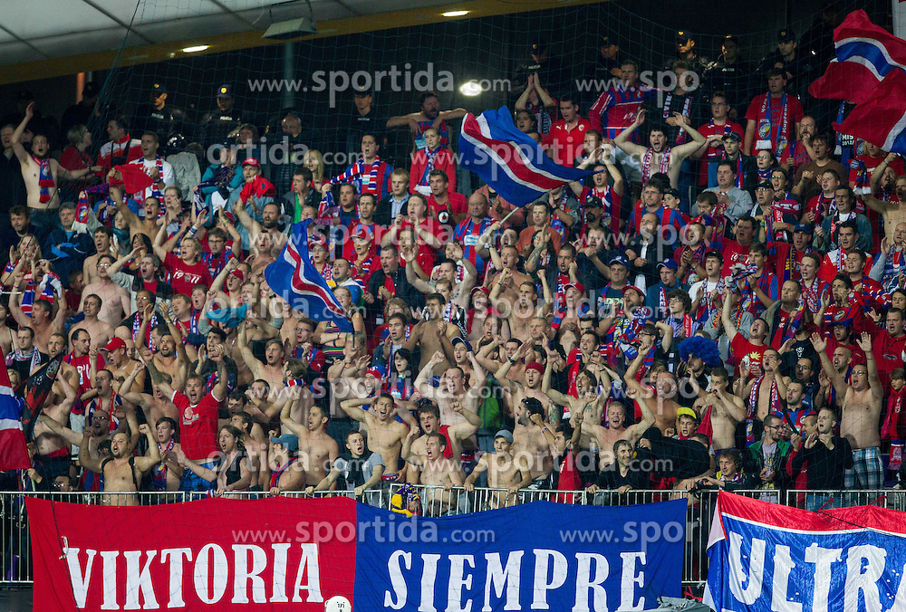 Supporters of Plzen during Second Leg football match between NK Maribor (SLO) and FC Viktoria Plzen (CZE) of UEFA Champions League 2013/14 Play-Offs on August 28, 2013 in Stadium Ljudski vrt, Maribor, Slovenia. (Photo by Vid Ponikvar / Sportida.com)