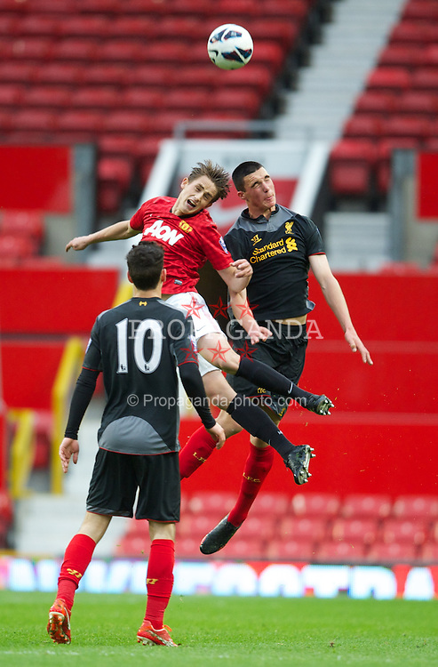 MANCHESTER, ENGLAND - Tuesday, May 14, 2013: Liverpool's Lloyd Jones in action against Manchester United during the Premier League Academy Elite Group Semi-Final match at Old Trafford. (Pic by David Rawcliffe/Propaganda)