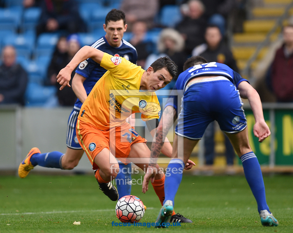 Luke O&rsquo;Neill of Wycombe Wanderers tries to get past Kiel O&rsquo;Brien during the FA Cup match at Shay Stadium, Halifax<br /> Picture by Richard Land/Focus Images Ltd +44 7713 507003<br /> 08/11/2015