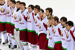 Belarus players listening to the national anthem during ice-hockey match between Slovenia and Belarus of Group G in Relegation Round of IIHF 2011 World Championship Slovakia, on May 8, 2011 in Orange Arena, Bratislava, Slovakia. Belarus defeated Slovenia 7-1 and stays in Elite Group A. (Photo By Vid Ponikvar / Sportida.com)