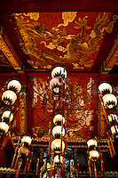 The beautifully elaborate ceiling of Po Lin Monastery on Lantau Island, Hong Kong.