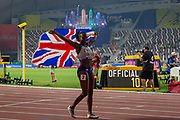 Dina Asher-Smith (Great Britain) after winning silver in the Women's 100 Metres Final, during the 2019 IAAF World Athletics Championships at Khalifa International Stadium, Doha, Qatar on 29 September 2019.