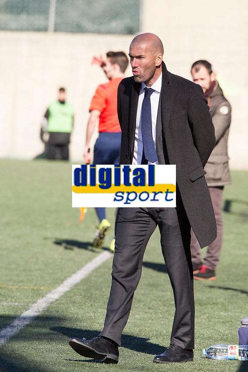 Real Madrid Castilla´s coach Zinedine Zidane during 2014-15 Spanish Second Division B match between Trival Valderas and Real Madrid Castilla at La Canaleja stadium in Alcorcon, Madrid, Spain. February 01, 2015. (ALTERPHOTOS/Luis Fernandez)