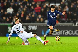 Son Heung-Min of Tottenham Hotspur Tottenham Hotspur Mike van der Hoorn of Swansea City - Mandatory by-line: Craig Thomas/JMP - 02/01/2018 - FOOTBALL - Liberty Stadium - Swansea, England - Swansea City v Tottenham Hotspur - Premier League