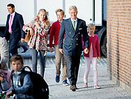 Brussel, 01-09-2017<br /> <br /> <br /> King Filip of Belgium with his children op de first schoolday after the summer holidays.<br /> <br /> <br /> <br /> Royalportraits Europe/Bernard Ruebsamen