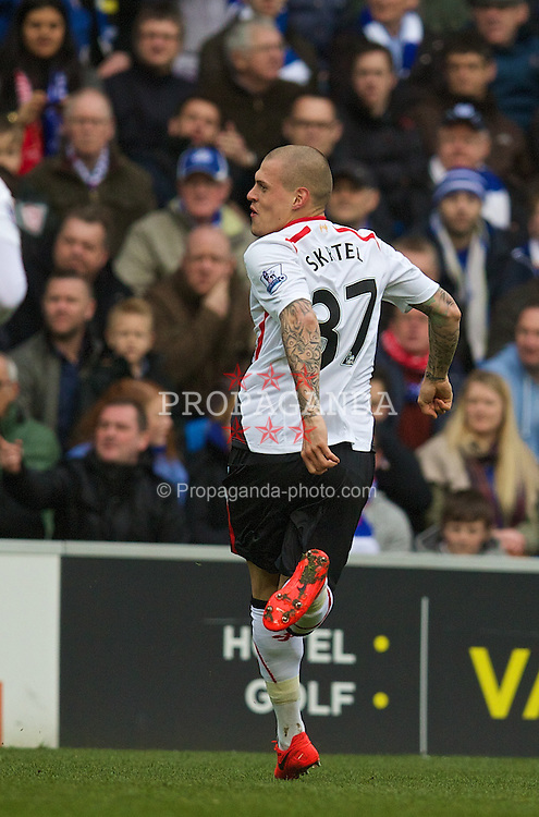 CARDIFF, WALES - Saturday, March 22, 2014: Liverpool's Martin Skrtel celebrates scoring the third goal against Cardiff City during the Premiership match at the Cardiff City Stadium. (Pic by David Rawcliffe/Propaganda)
