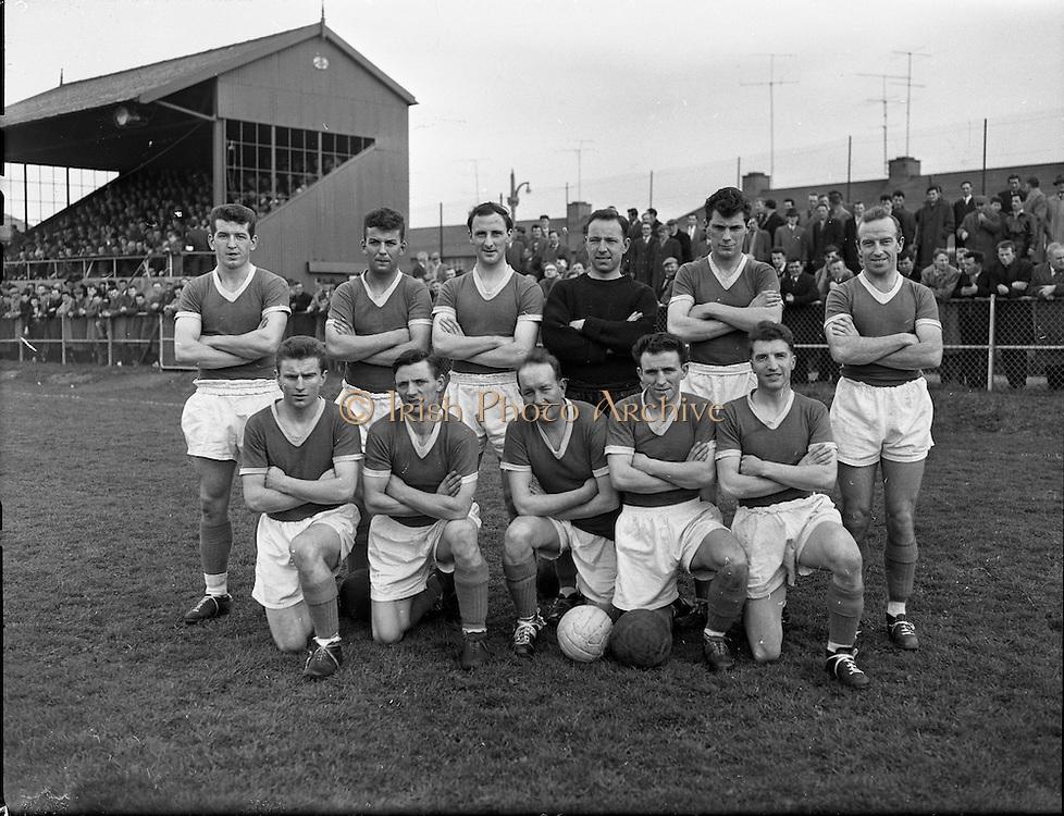 Cork Hibs Vs Jacobs. .1961..11.03.1961..03.11.1961..11th March 1961..The FAI Cup second round saw cork Hibernians pitted against  Jacobs works team at Rutland Avenue, Dublin.