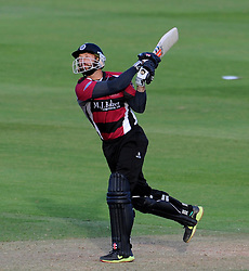 Somerset's Peter Trego hits out - Photo mandatory by-line: Harry Trump/JMP - Mobile: 07966 386802 - 05/06/15 - SPORT - CRICKET - Somerset v Hampshire - The County Ground, Taunton, England.