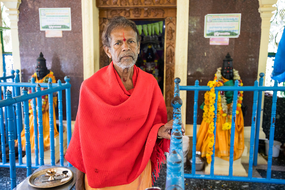 THIMMAMMA MARRIMANU, INDIA - 28th October 2019 - Portrait of holy priest at Thimmamma temple in Andhra Pradesh, South India. Thimmamma Marrimanu is home to the world's largest single tree canopy.