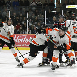 COCHRANE, ON - MAY 3: Players battle for position in the crease during the second period on May 3, 2019 at Tim Horton Events Centre in Cochrane, Ontario, Canada.<br /> (Photo by Tim Bates / OJHL Images)