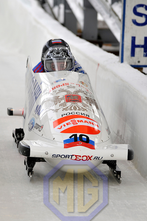 15 December 2007:  The Russia 2 sled driven by Evgeni Popov with  Dmitry Stepushkin on the brakes competes in the FIBT World Cup Men's 2-man bobsled competition on December 15, 2007 at the Olympic Sports Complex in Lake Placid, NY.   The race was won by the Canada 1 sled with a time of 1:50.64.