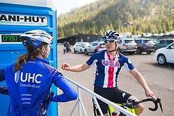 Katie Hall (USA) and Katie Compton (USA) chat before the start on Stage 2 of the Amgen Tour of California - a 108 km road race, starting and finishing in South Lake Tahoe on May 18, 2018, in California, United States. (Photo by Balint Hamvas/Velofocus.com)