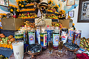 A central courtyard shrine and offerings inside the La Casa De La Santa Muerte or House of the Saint of the Dead November 1, 2017 in Santa Ana Chapitiro, Michoacan, Mexico.