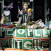 Caroline volunteers at People's Kitchen in Hackney, London. Founded in November 2010, The People's Kitchen combats food waste and brings together people from different backgrounds and life experiences .