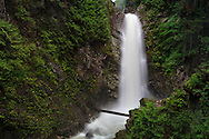 Cascade Falls from the first viewing platform in Cascade Falls Regional Park near Durieu, British Columbia, Canada