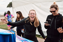 Hannah Barnes (GBR) laughs with her teammates at Amgen Tour of California Women's Race empowered with SRAM 2019 - Team Presentation in Ventura, United States on May 15, 2019. Photo by Sean Robinson/velofocus.com