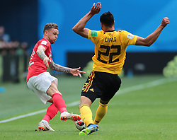 July 14, 2018 - Saint Petersburg, U.S. - ST. PETERSBURG, RUSSIA - JULY 14: Defender Kieran Trippier of England National team and Midfielder Nacer Chadli of Belgium National team during the third place match between Belgium and England at the FIFA World Cup 2018 at the Saint Petersburg Stadium, Russia, Saturday, July 14, 2018. . (Photo by Anatoliy Medved/Icon Sportswire) (Credit Image: © Anatoliy Medved/Icon SMI via ZUMA Press)