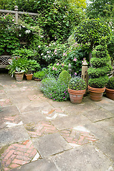 Decorative paving on terrace