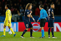 David Luiz of Paris Saint-Germain appeals to referee Cuneyt Cakir (TUR) claiming his shirt was pulled after the match ends in a 1-1 draw - Photo mandatory by-line: Rogan Thomson/JMP - 07966 386802 - 17/02/2015 - SPORT - FOOTBALL - Paris, France - Parc des Princes - Paris Saint-Germain v Chelsea - UEFA Champions League, Last 16, First Leg.
