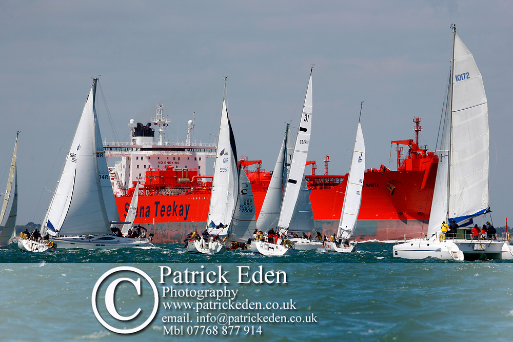 Fleet, Nomansland Fort, Round the island Race, 2008, Cowes, Isle of Wight, England, Sports Photography