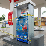 SEPTEMBER 9, 2017--MIAMI--FLORIDA<br /> Plastic wrapped gas pumps in the Little Havana neighborhood on Saturday morning.<br /> (Photo by Angel Valentin)