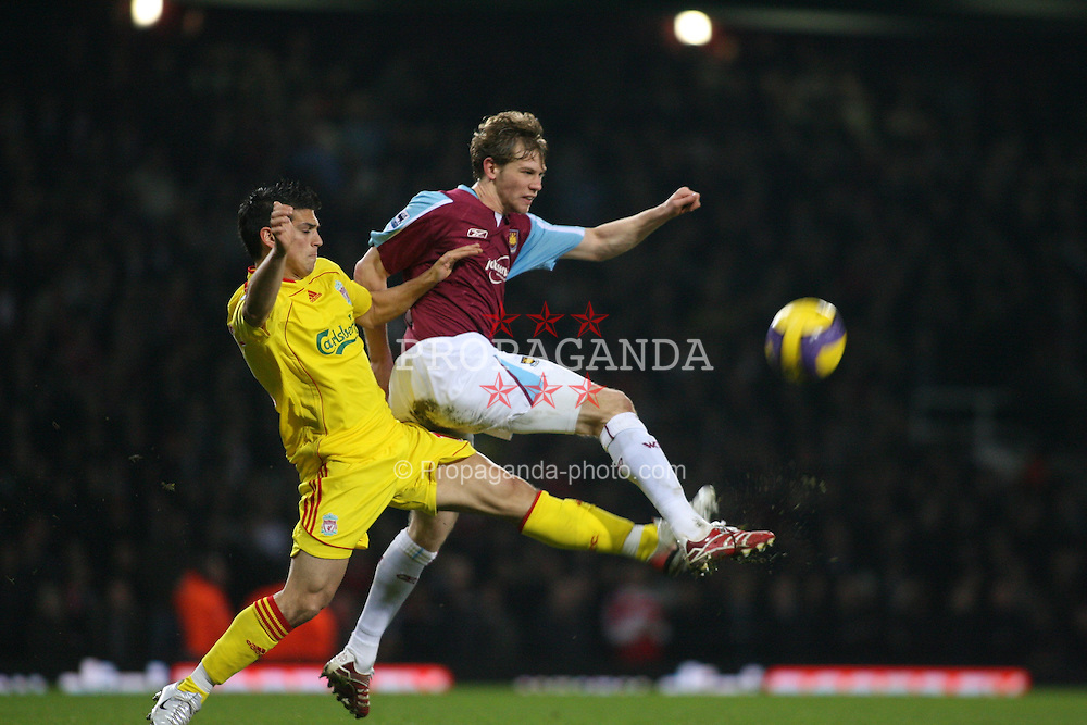 London, England - Tuesday, January 30, 2007: Liverpool's ?? and West Ham United's Jonathan Spector during the Premiership match at Upton Park. (Pic by Chris Ratcliffe/Propaganda)