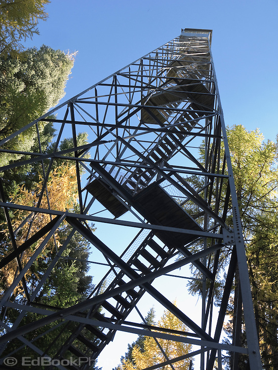 Looking up Hoodoo Fire Lookout stairs in the Umatilla National Forest, Blue Mountains, Oregon, USA