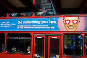 London Metropolitan University ad on the side of a London bus.