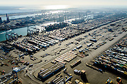 Nederland, Zuid-Holland, Rotterdam, 18-02-2015; Eerste Maasvlakte, Coloradoweg en Europahaven. ECT Delta Terminal, Europe Container Terminals. Tweede Maasvlakte en Slufter in de achtergrond.<br /> luchtfoto (toeslag op standard tarieven);<br /> aerial photo (additional fee required);<br /> copyright foto/photo Siebe Swart