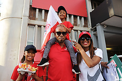 070418 Emirates Airlines Park, Ellis Park, Johannesburg, South Africa. Super Rugby. Lions vs Stormers. The Hlophe family from Boksburg in their Lions colours. Vinah, dad Wandile holding Akwandeand mom Tebogo.<br />Picture: Karen Sandison/African News Agency (ANA)