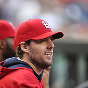 Pitcher John Lackey, St. Louis Cardinals, in the dugout during the New York Mets Vs St. Louis Cardinals MLB regular season baseball game at Citi Field, Queens, New York. USA. 18th May 2015. Photo Tim Clayton