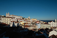 Portugal. Lisbon. Alfama district  view from santa lucia/ le quartier de l'Alfama . Lisbonne
