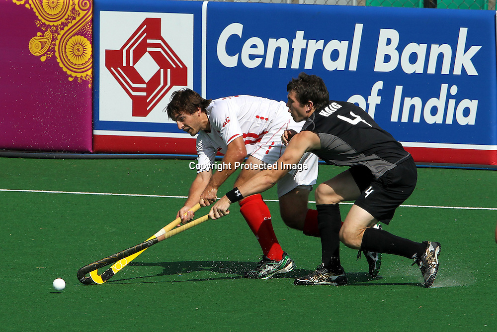 Nick Haig of New Zealand during the hockey match between New Zealand and Canada during the XiX Commonwealth Games  held at the MDC Stadium in New Delhi, India on the  10 October 2010<br /> <br /> Photo by:  Ron Gaunt/photosport.co.nz