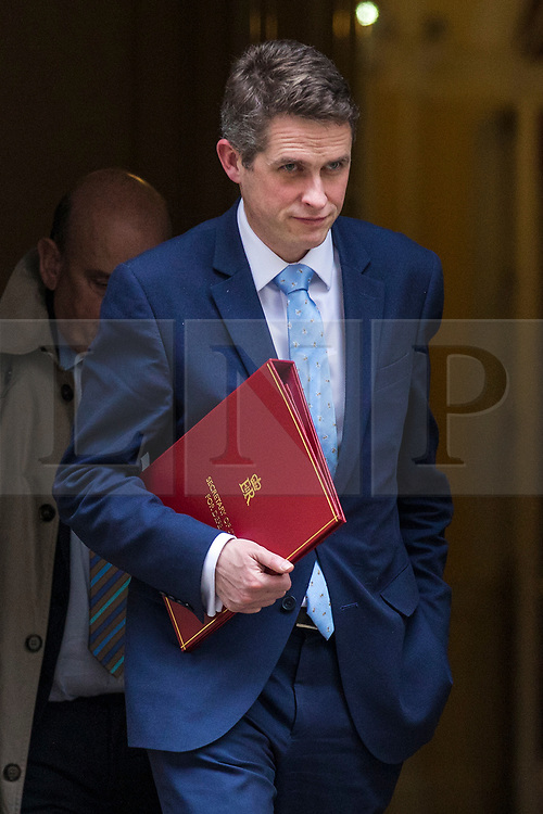 © Licensed to London News Pictures. 12/03/2018. London, UK. Defence Secretary Gavin Williamson leaves 10 Downing Street after a National Security Council meeting to discuss the Salisbury spy incident. Photo credit: Rob Pinney/LNP