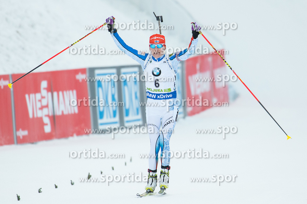 Kaisa Makarainen (FIN) celebrates at finish line after winning  during Women 12.5 km Mass Start at day 4 of IBU Biathlon World Cup 2015/16 Pokljuka, on December 20, 2015 in Rudno polje, Pokljuka, Slovenia. Photo by Vid Ponikvar / Sportida