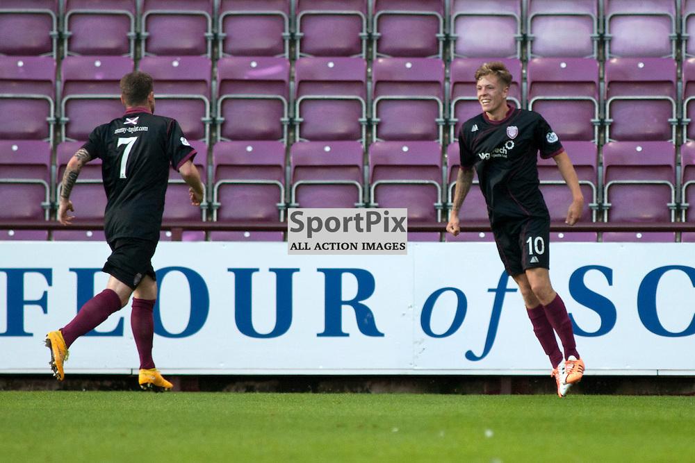 David Gold celebrates scoring for Arbroath in the Hearts v Arbroath Scottish League Cup at Tynecastle Stadium, Edinburgh. <br />30 July 2015<br /><br />(c) Russell G Sneddon / SportPix.org.uk
